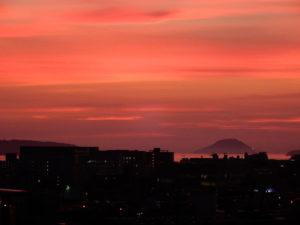 博多駅から見た夕焼け