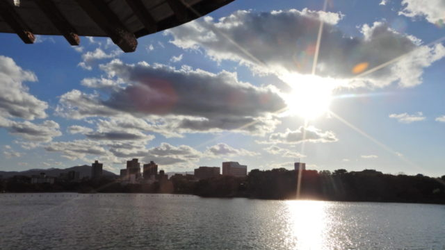 大濠公園から見た夕日